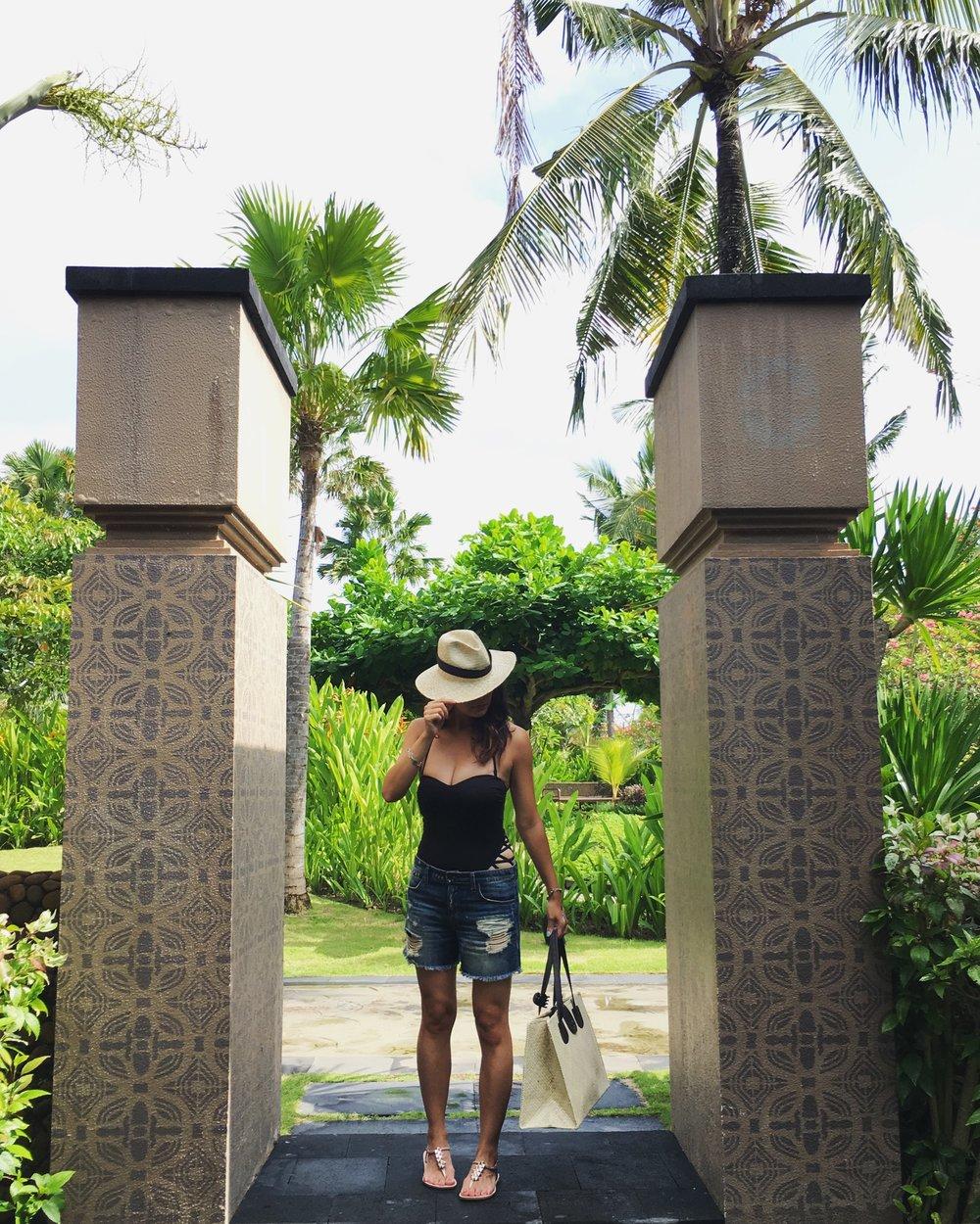 Kenneth Cole Swimsuit /  Joe Jeans Shorts  /  Impanema Sandals  / St. Regis Hotel Hat & Beach Bag (from hotel)