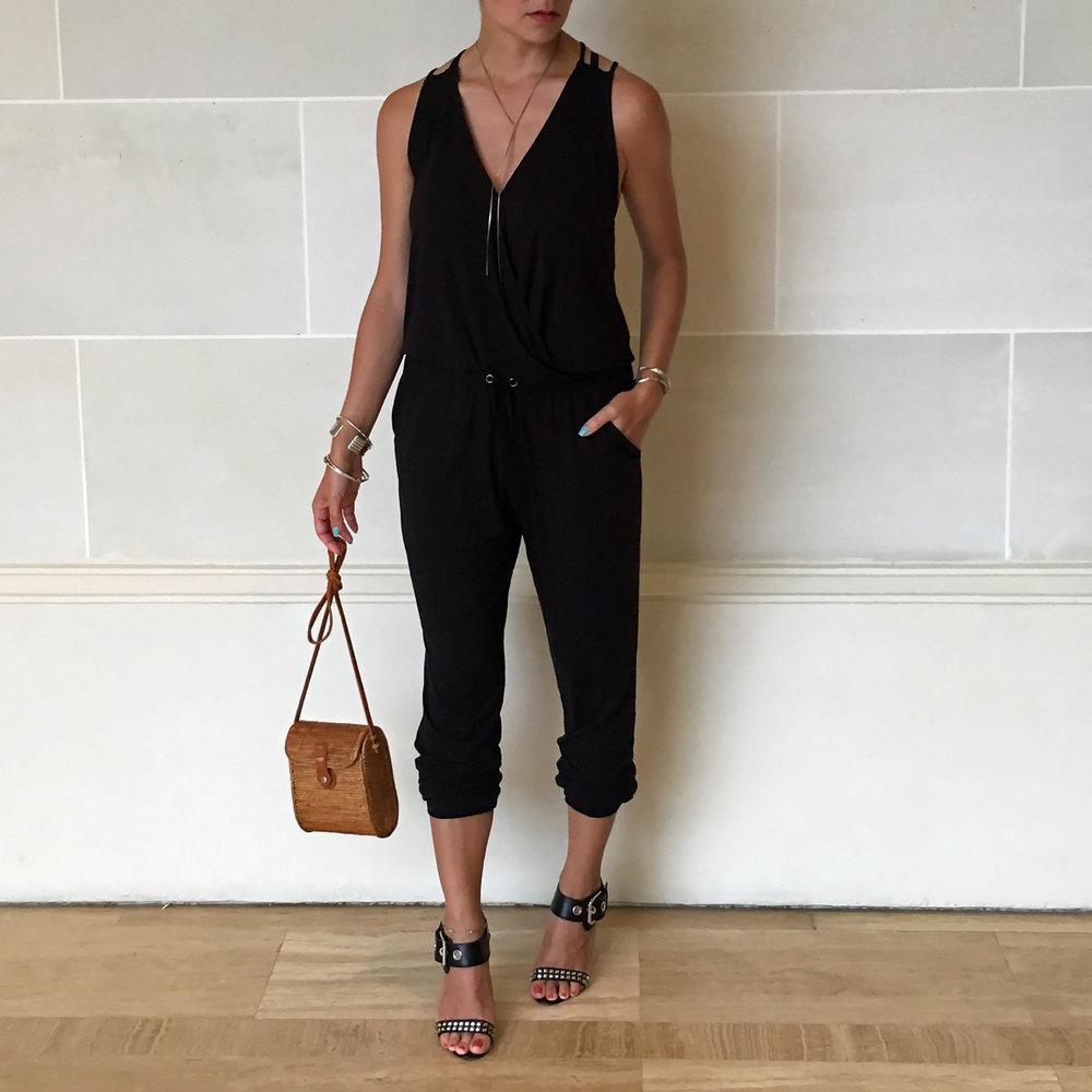 BB Dakota Jumpsuit / Manolo Blahnik Heels /  Nordstrom Necklace  / Bag (local trip purchase)