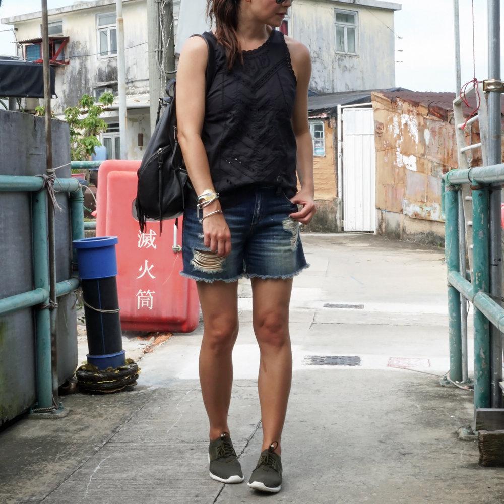 Gap Eyelet Top  /  Joe Jeans Shorts  /  Rebecca Minkoff Backpack  /  Nike Juvenate Sneakers