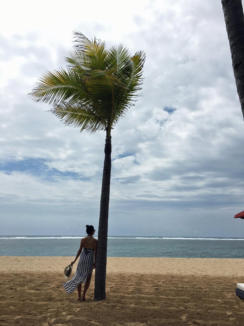 Nordstrom Maxi Dress /  Tommy Bahama Bathing Suit  / St. Regis Hotel Beach Hat