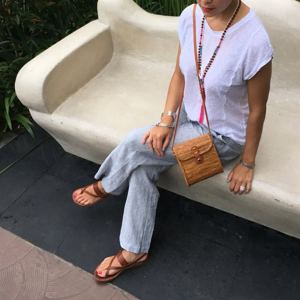 Gap Shirt / Halogen via Nordstrom Pants / Necklace & Bag (local trip purchase) / Sandals (old, from Greece)