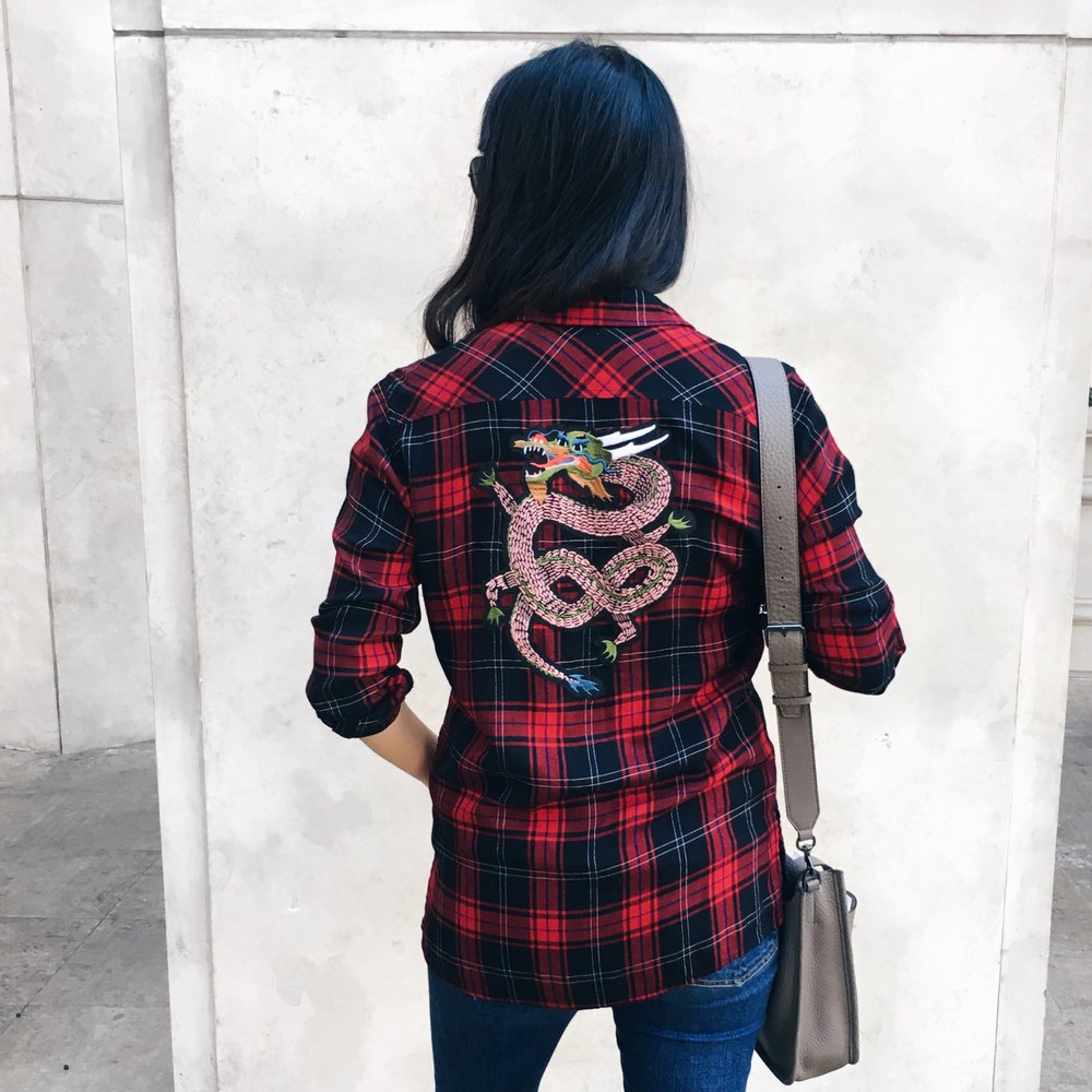 Dragon Print Plaid Shirt