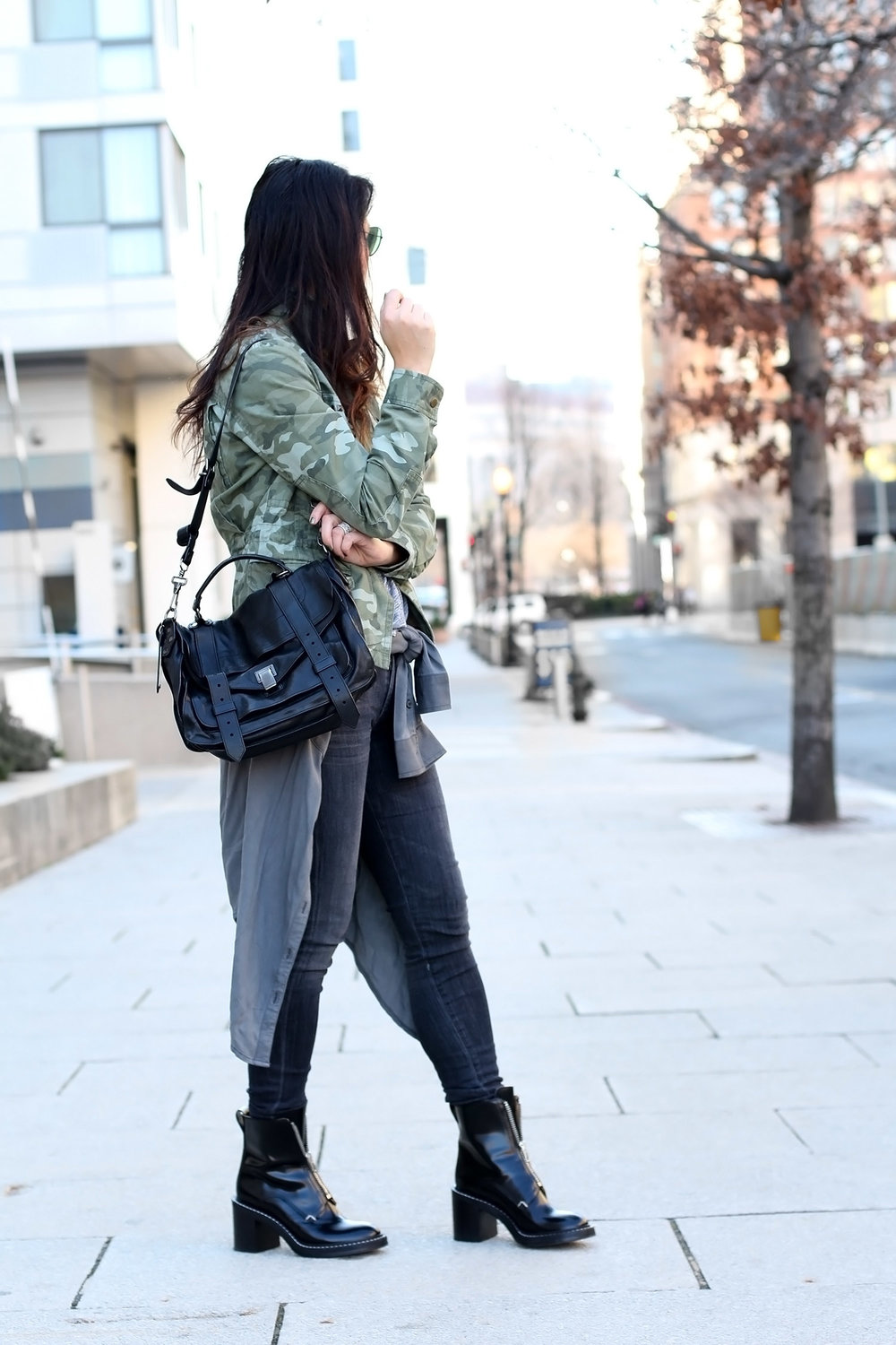 Laid Back Edgy Style, Camo Jacket Outfit, Rag and Bone Boots