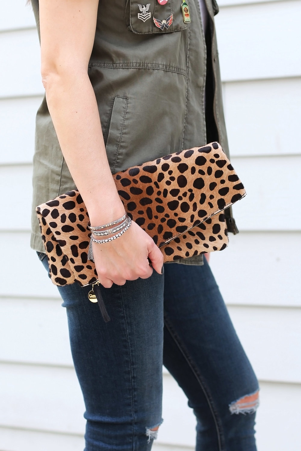 Leopard Print Clutch, Folder over clutch