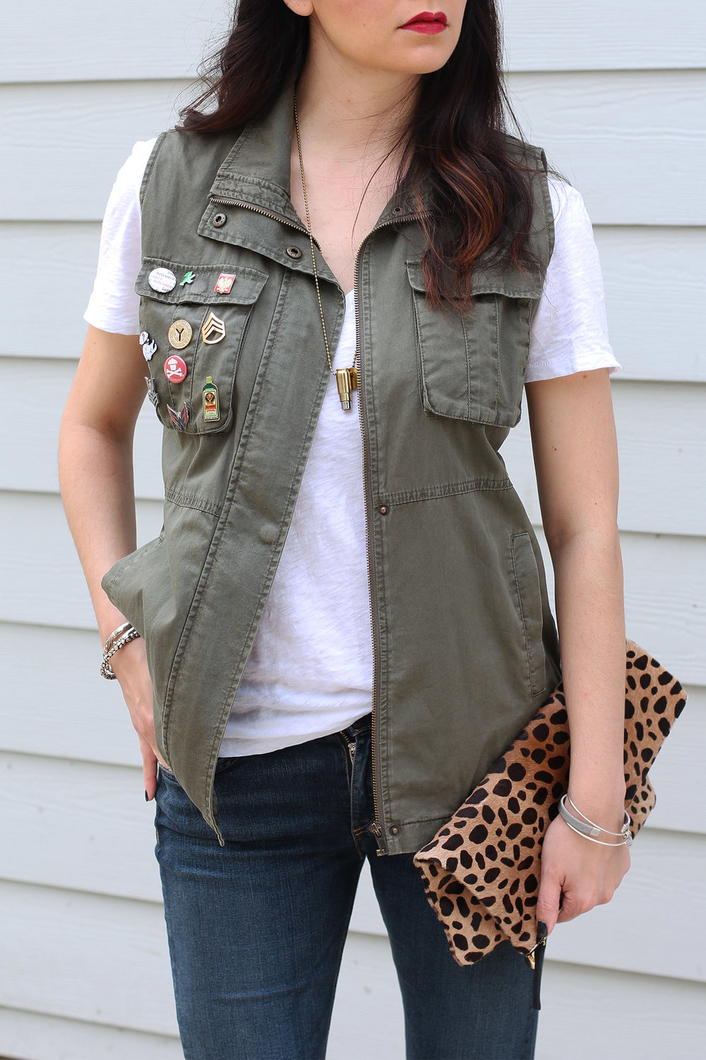 Olive green vest outfit