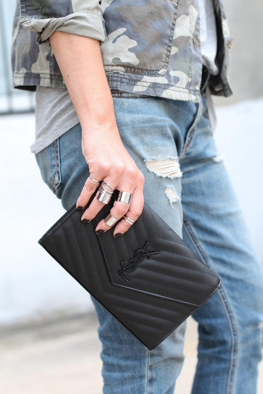 YSL Saint Laurent Black on Black Wallet on Chain