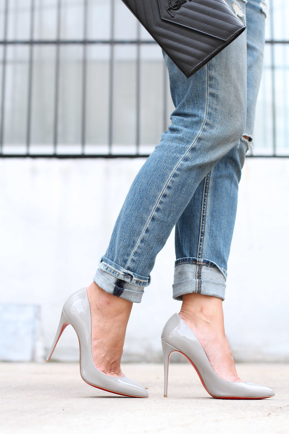 Christian Louboutin Pigalle Follies Patent Leather Grey