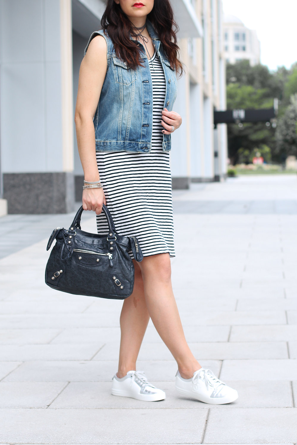 Chanel Sneakers with Dress Outfit