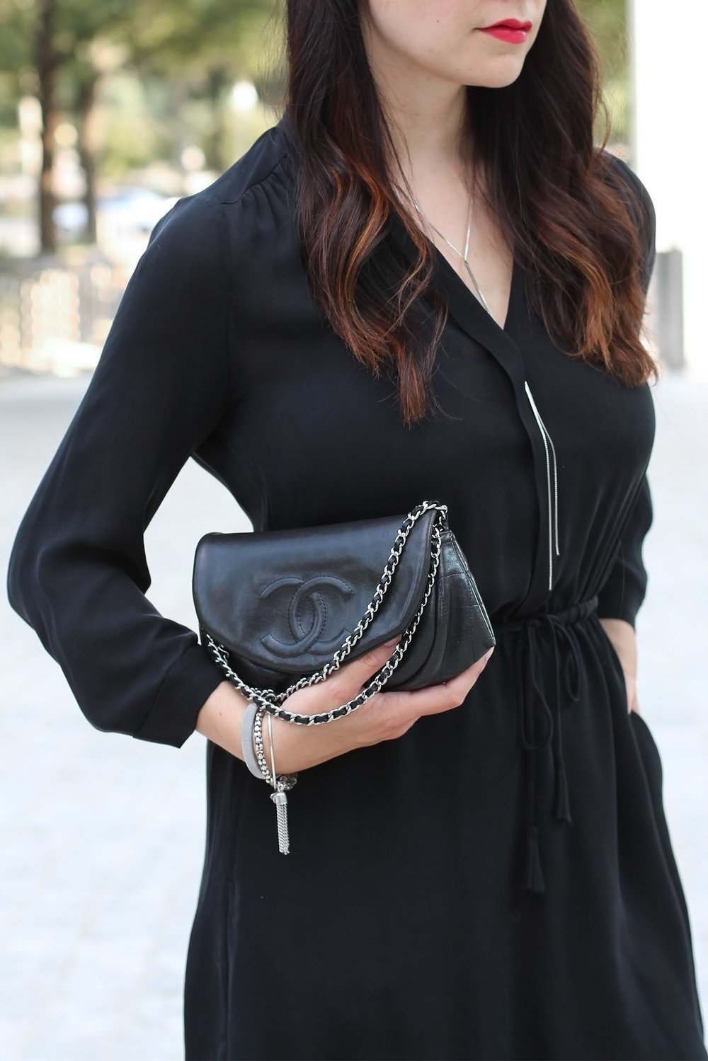 Chanel Half Moon Clutch, Little Black Dress
