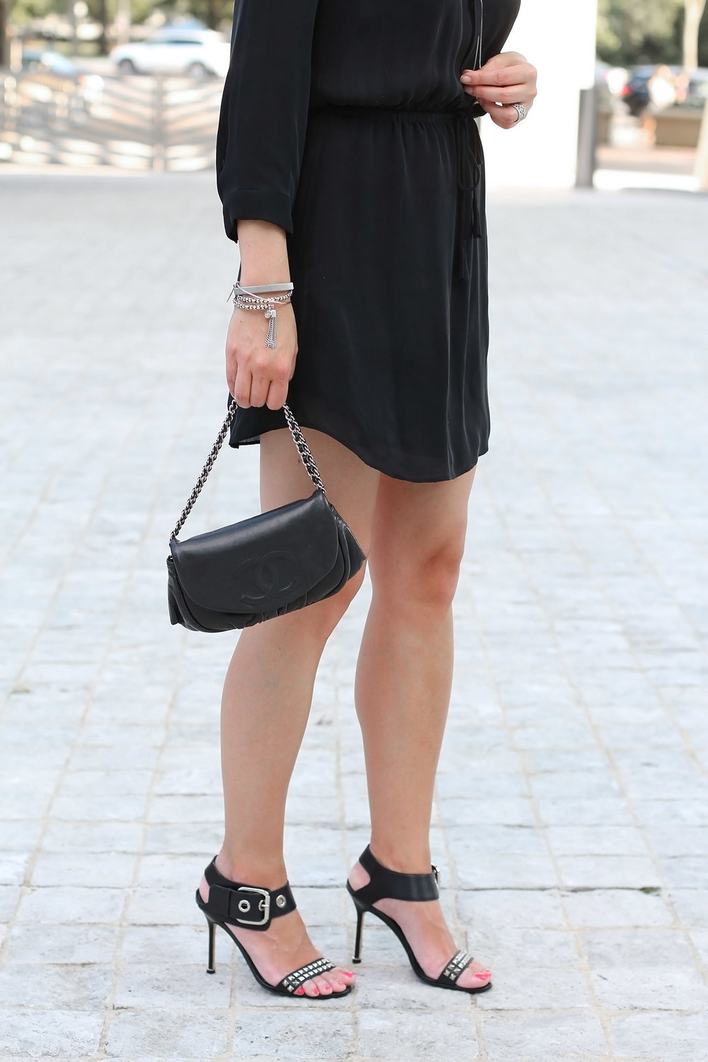 Studded Summer Heels, Aritzia Black Dress