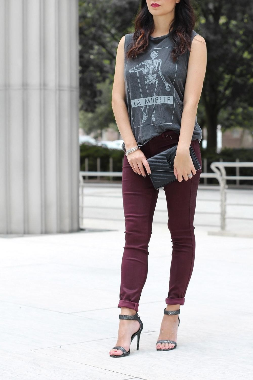 La Muerte Tank, Oxblood Jeans, Metallic Heels