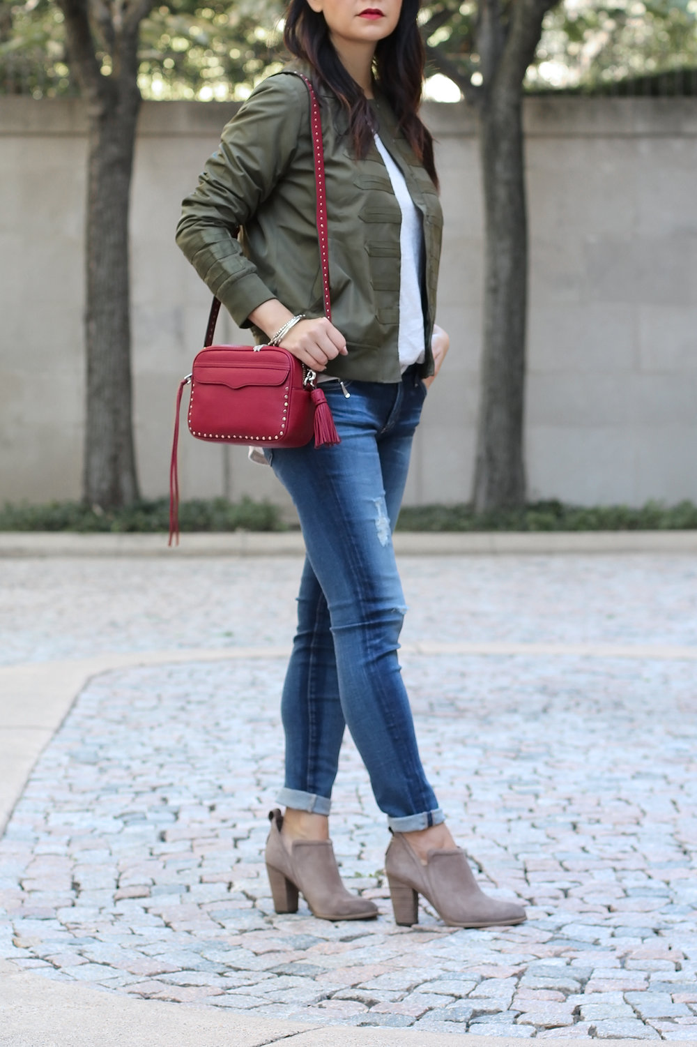Military Bomber Jacket, AG Legging Jeans, Vince Camuto Ankle Boots, Rebecca Minkoff Camera Bag