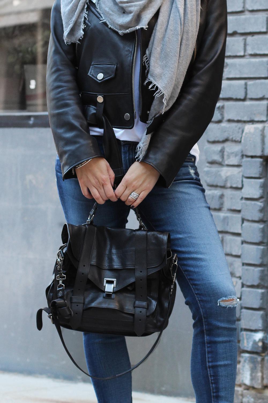 Proenza Schouler PS1, Black Moto Jacket, AG Jeans