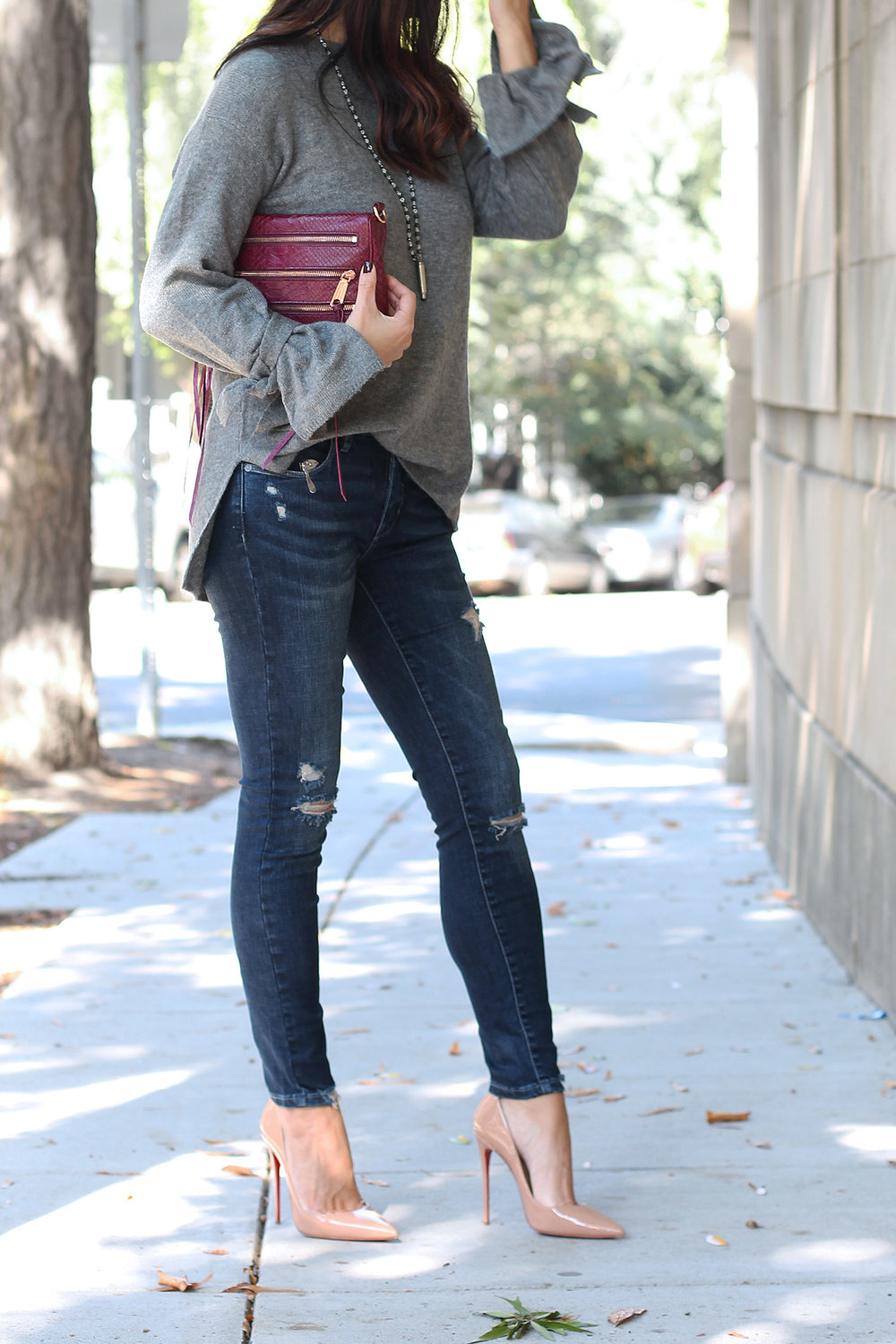 Distressed Jeans Outfit, Louboutin So Kate Pumps
