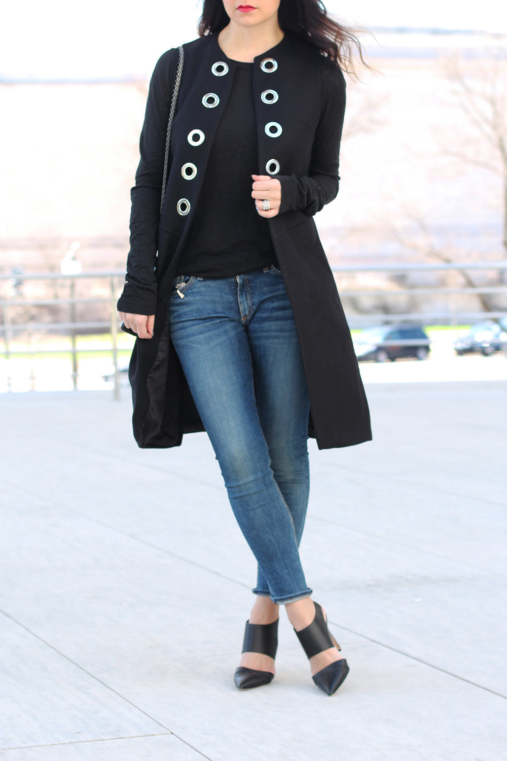 Long Vest Outfit, Rag and Bone Shirt, Manolo Blahnik Heels