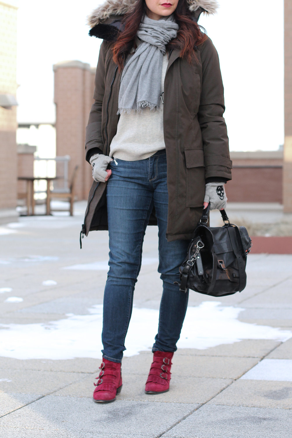 Gap Sweater, Aritzia Parka Jacket, Cashmere Scarf, Warm Winter Outfit