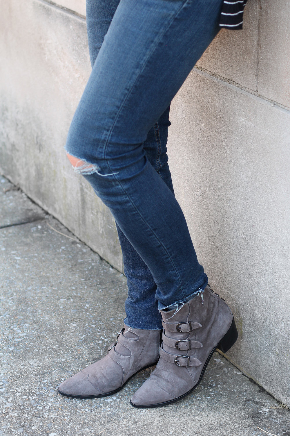 AG Jeans, Distressed Jeans, Ankle Boots Outfit