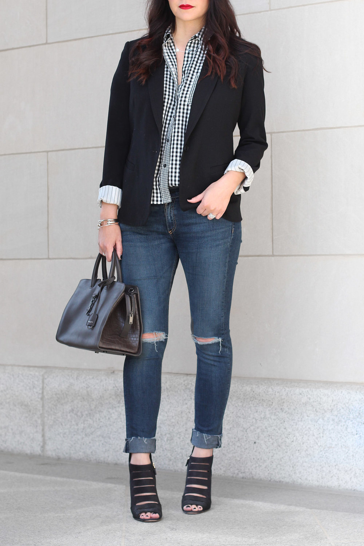 Gingham Shirt Outfit, Saint Laurent Bag