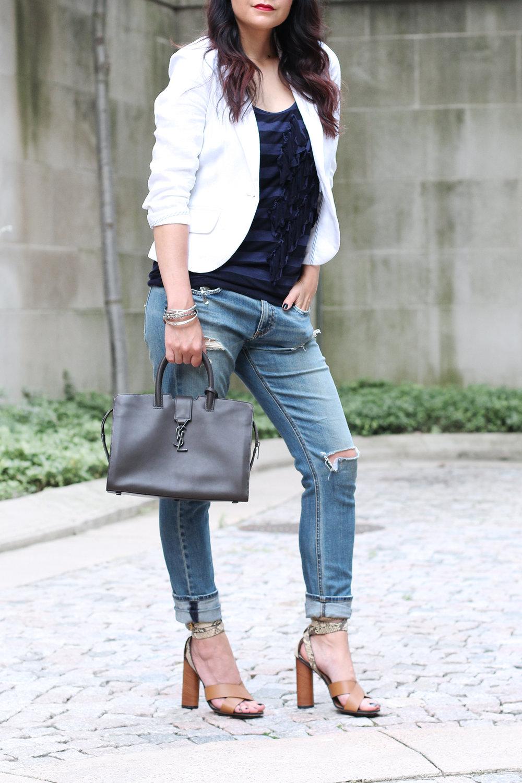 Linen Blazer, Boyfriend Jeans, Gucci Heels