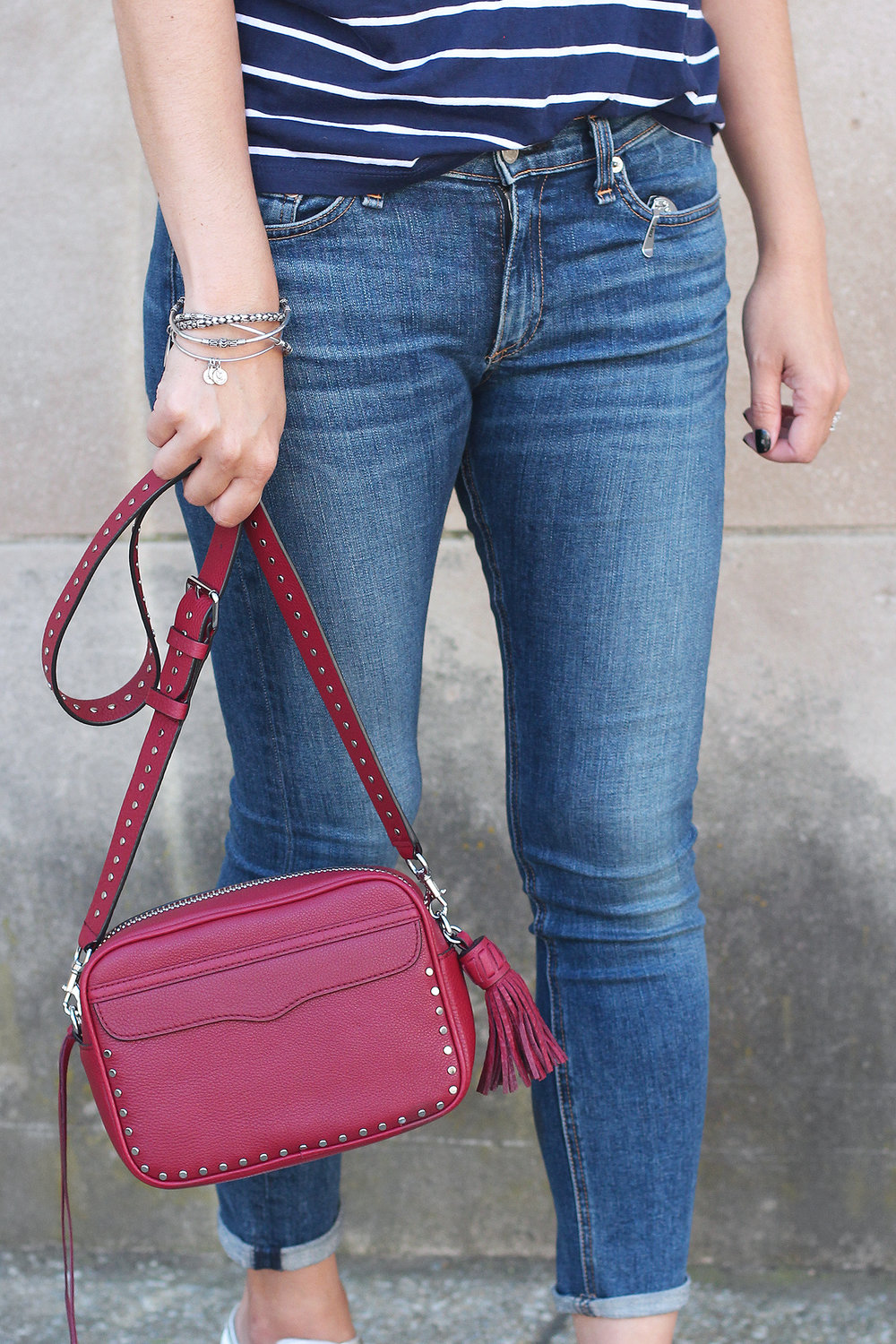 Red Crossbody Bag, Rag and Bone Jeans