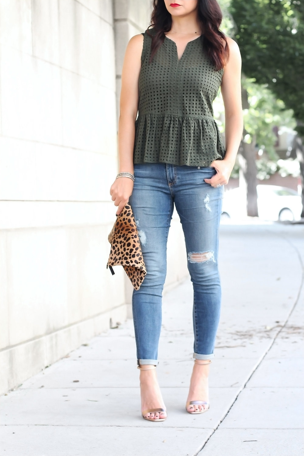 Olive Green Peplum Eyelet Top
