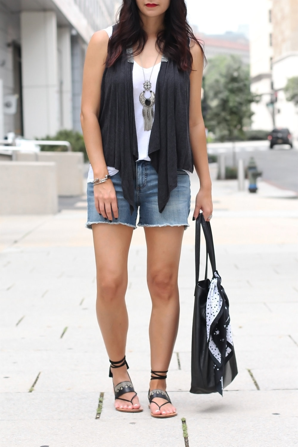 Denim Shorts Outfit, Lace Up Sandals