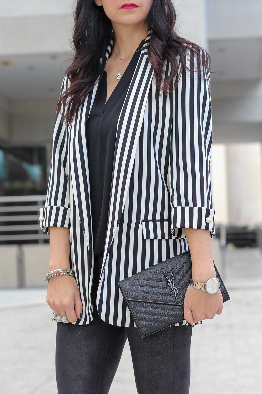 Black and White Stripe Blazer, YSL Matelasse Clutch