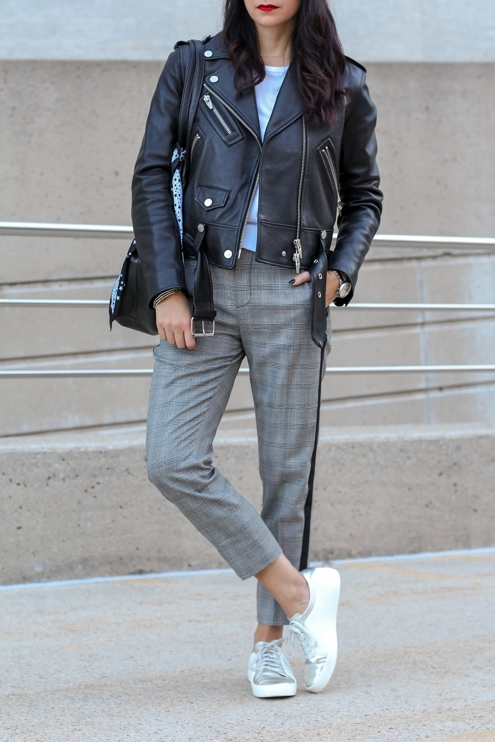 NYC Style, Plaid Pants, Sneakers, Leather Jacket