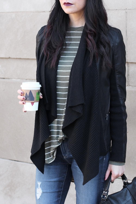 Proenza Schouler PS1 Bag, Blank NYC Drape Jacket, AG Jeans