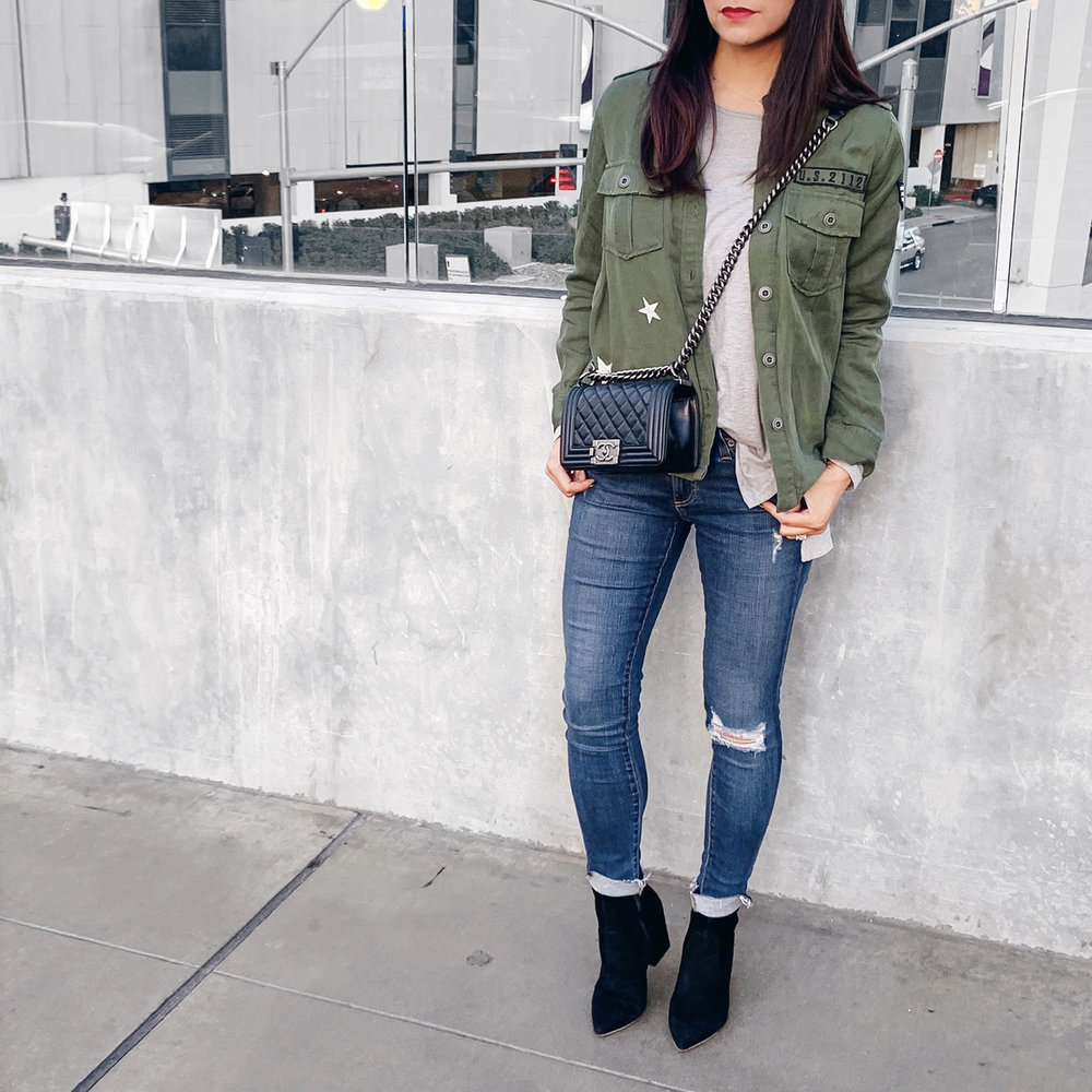 Rails Military Shirt   |   Grey T-Shirt   | AG Jeans {   similar   } |   Loeffer Randal Isla Boots   | Chanel Boy Bag