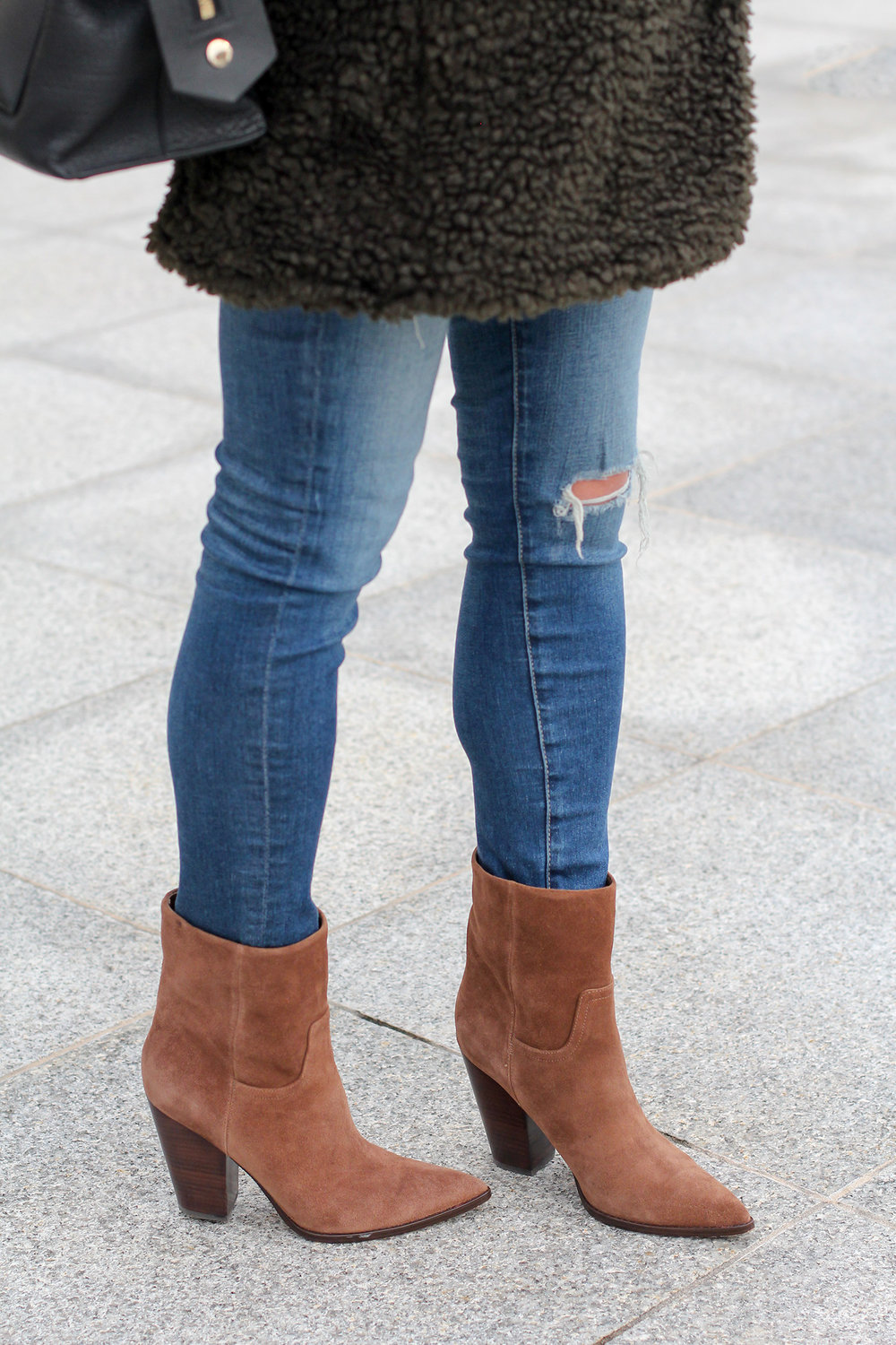 Distressed Jeans, Marc Fisher Suede Boots