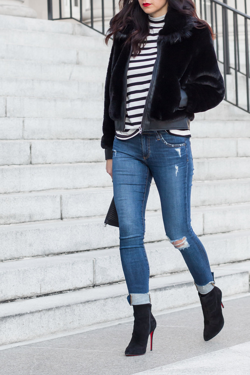 Blank NYC Faux Fur Jacket, Christian Louboutin Eloise Boots, Date Night Outfit