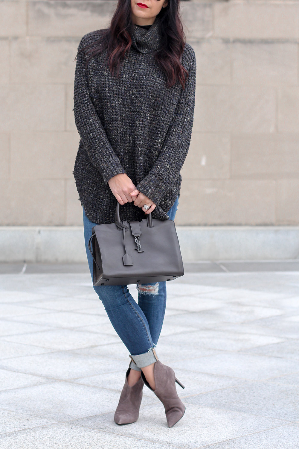 Free People Sweater, Cableknit Sweater, Saint Laurent Cabas Bag