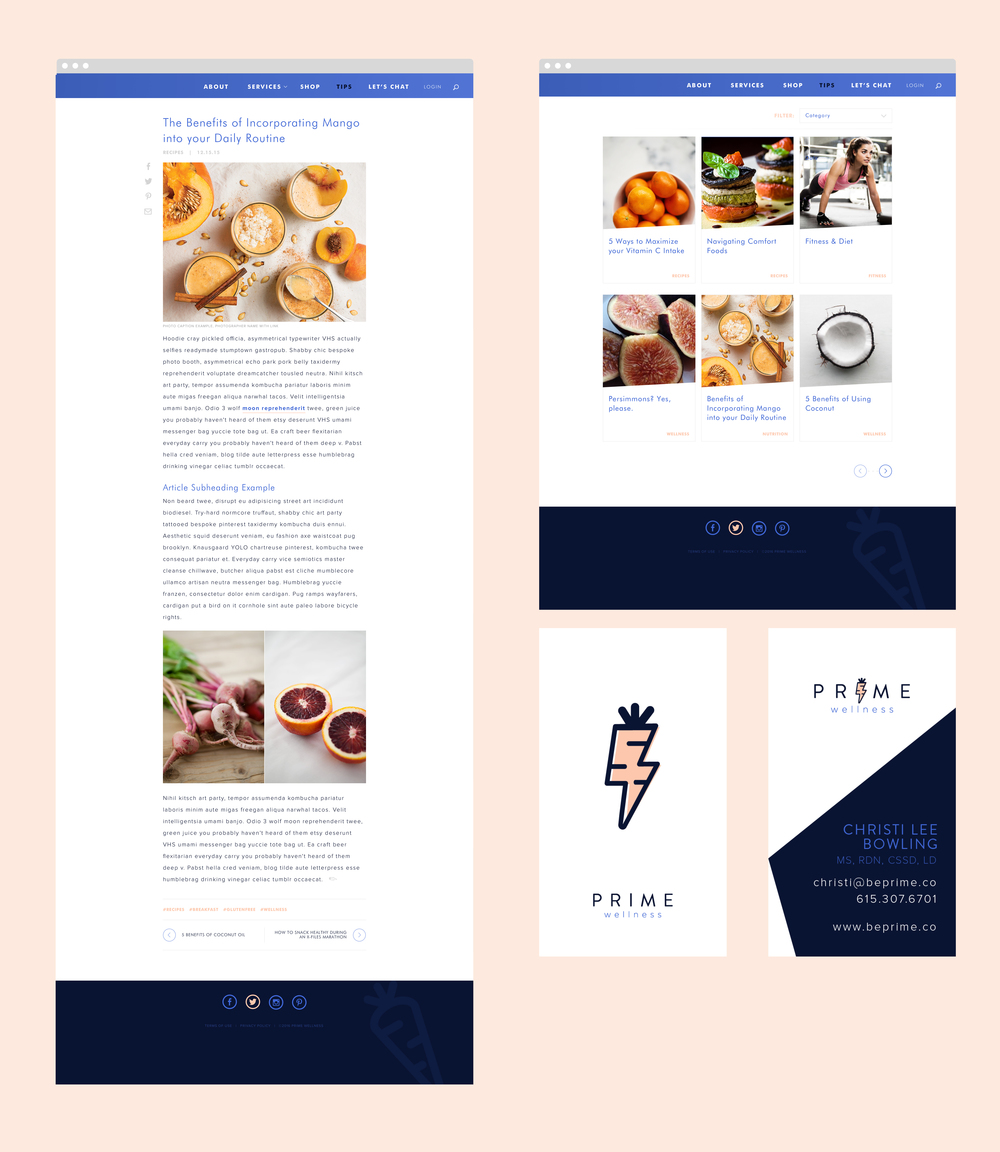 Dietitian Blog Site Design