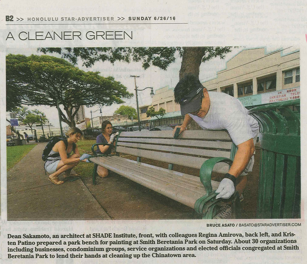 Snippet from Honolulu Star-Advertiser featuring Dean Sakamoto, Kristen Patino and Regina Amirova from SHADE Institute.