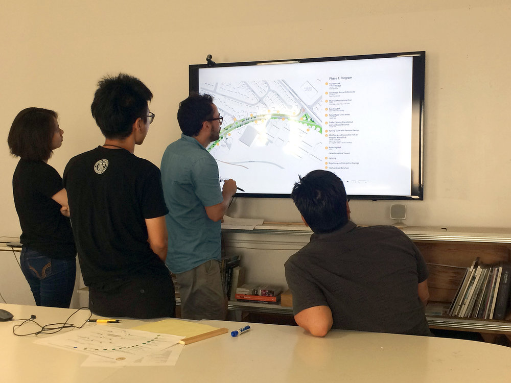 Summer Fellows and Dean Sakamoto reviewing drawings of Waipoua access road