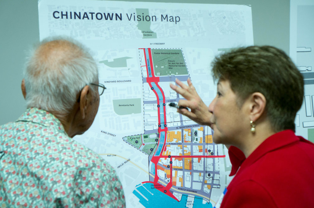 Dr. Joseph Young (Honorary Mayor of Chinatown) and Councilmember Carol Fukunaga discussing their visions for Chinatown.