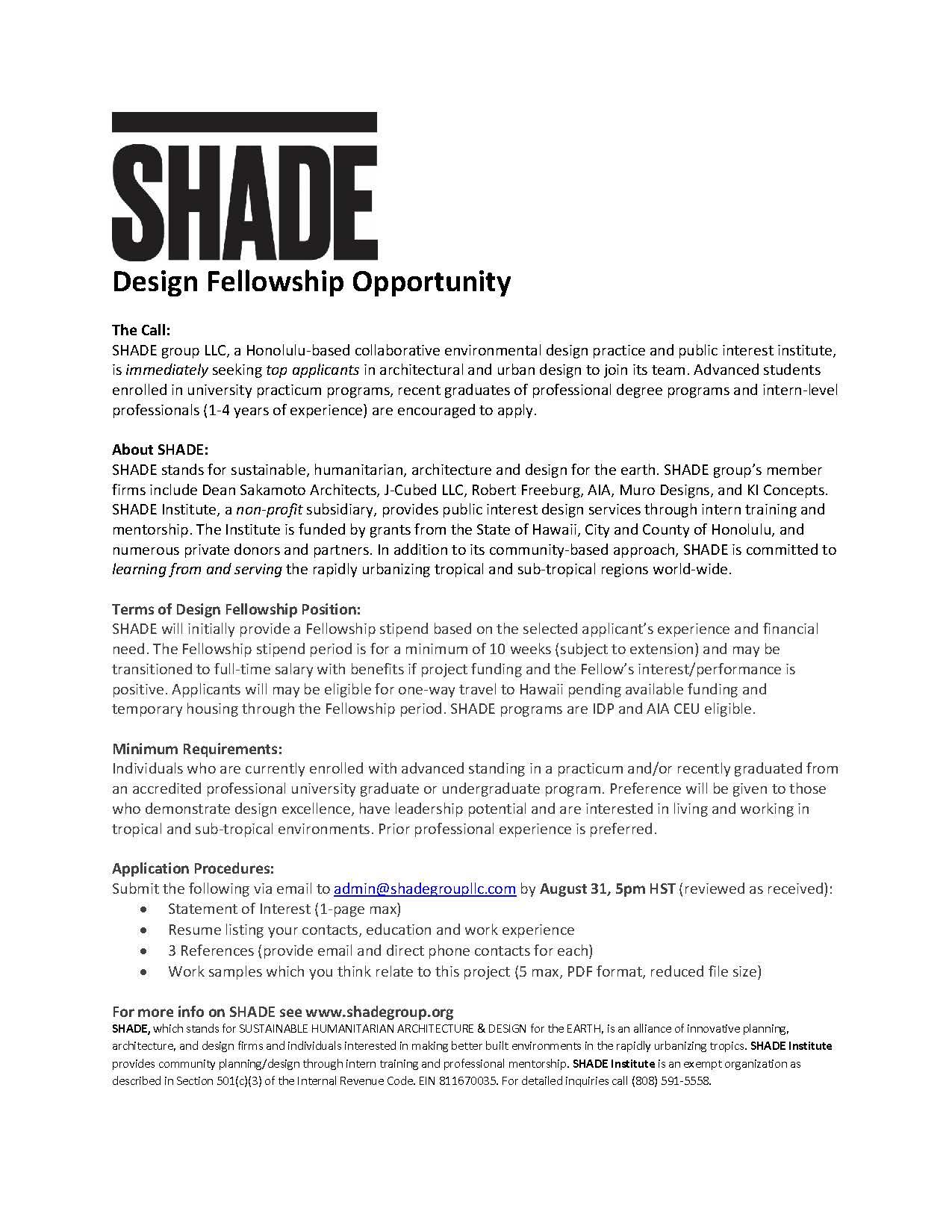 SHADE-SHADE Design Fellowship Opportunity