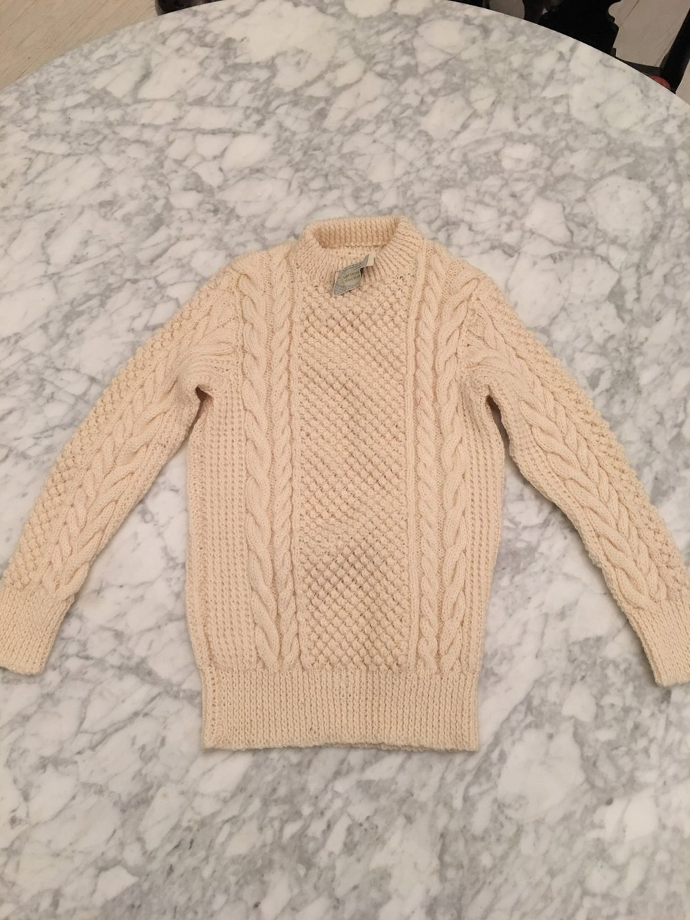 RAFFLE: Knitted ARAN SWEATER from Ian's Mother-in-Law As ever support froom my Mother & Eli's grandmother. Wonderful sweater in small size.