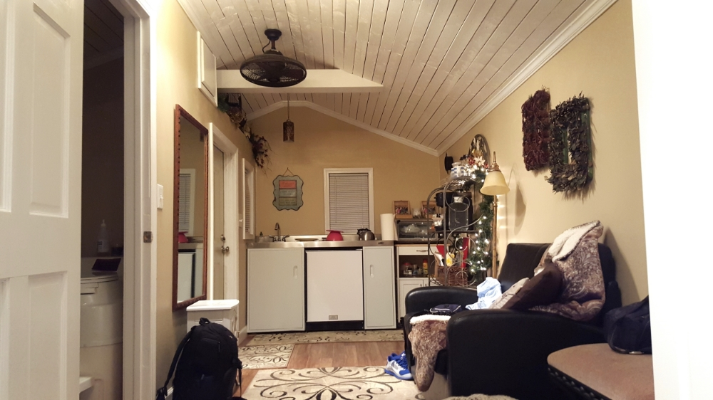 Inside Tiny House: Showing Bathroom, Kitchen, Living Area