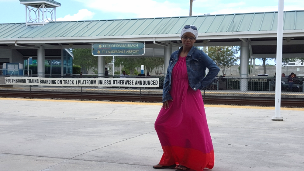 Me in front of the Fort Lauderdale Airport Tri-Rail Station
