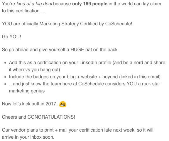 CoSchedule Certificate Marketing Email | Zaakirah Nayyar