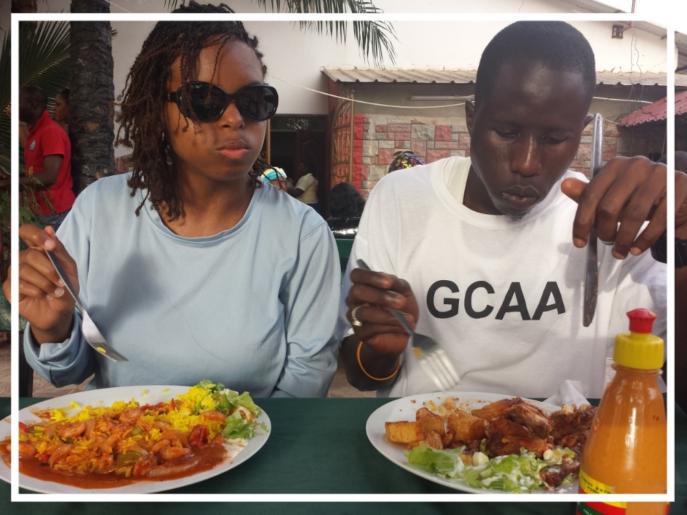 Eating Shrimp and Yellow RIce in Gambia w/ then Fiance´
