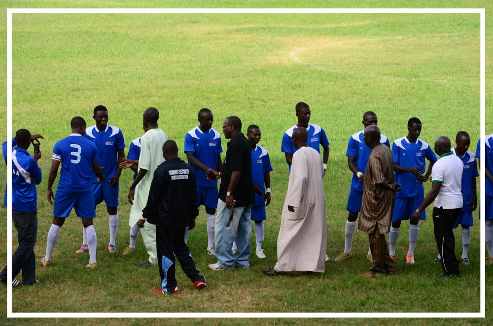 Gambia Civil Aviation Authority players greeting the Minister(s).
