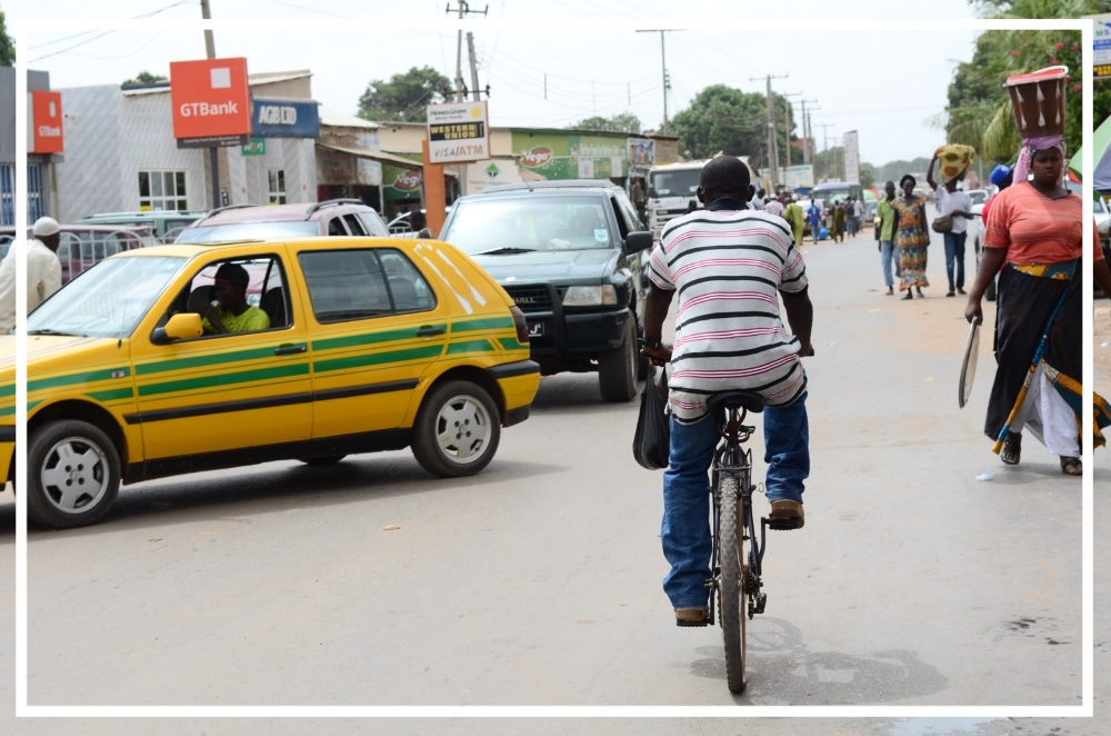 Taxis, bicycles,cars or by foot are the different modes of transportation in The Gambia.