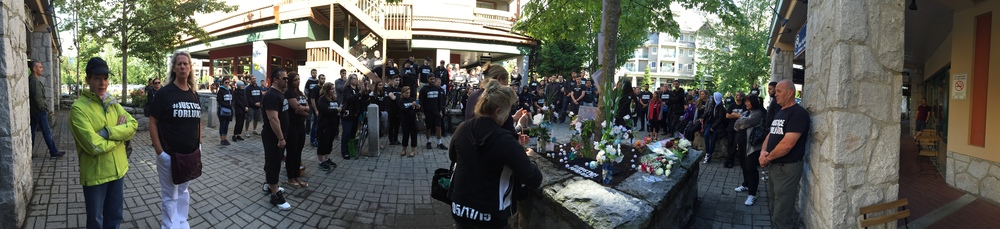 Friends and family gather at the site where Luka Gordic was murdered on May 17th 2015.