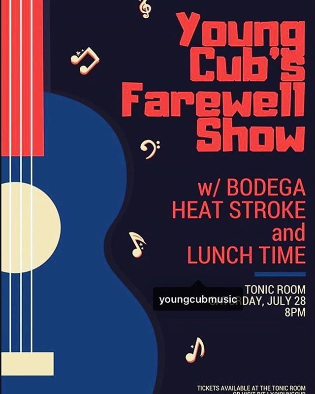 Seven years in the making, we're playing our final (for now) show on July 28th at the @tonicroomchi with our brothers @bodega_music, @heatstrokejams and Lunch Time. Get your tickets today!
