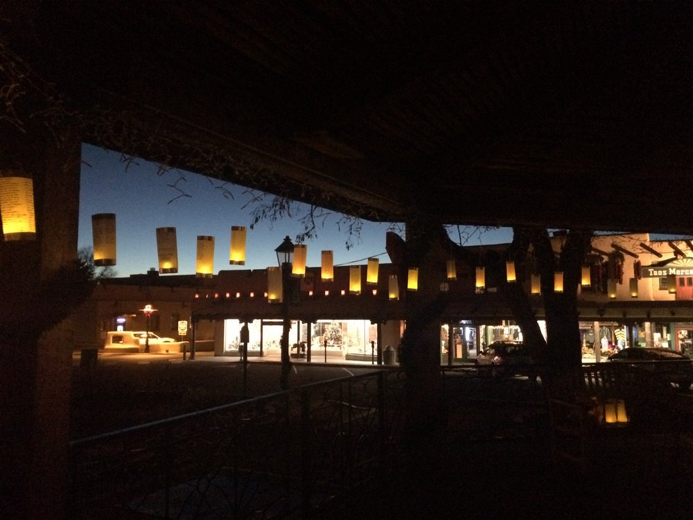Lanterns for Peace at the town plaza in Taos, NM
