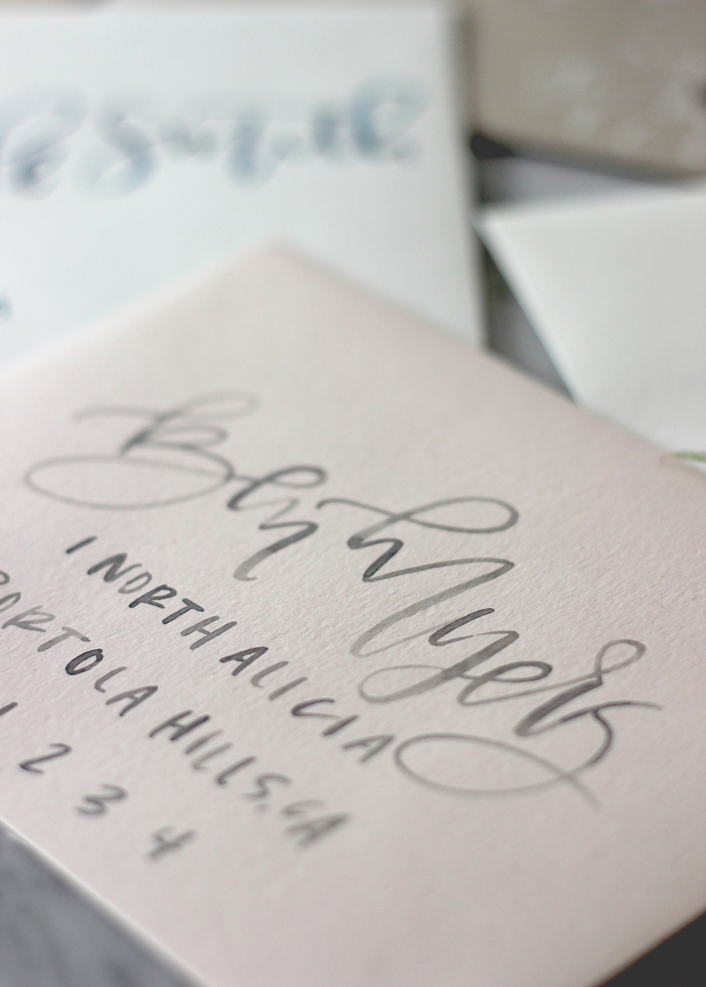 Blush Envelopes with Grey Watercolor Lettering | A Fabulous Fete