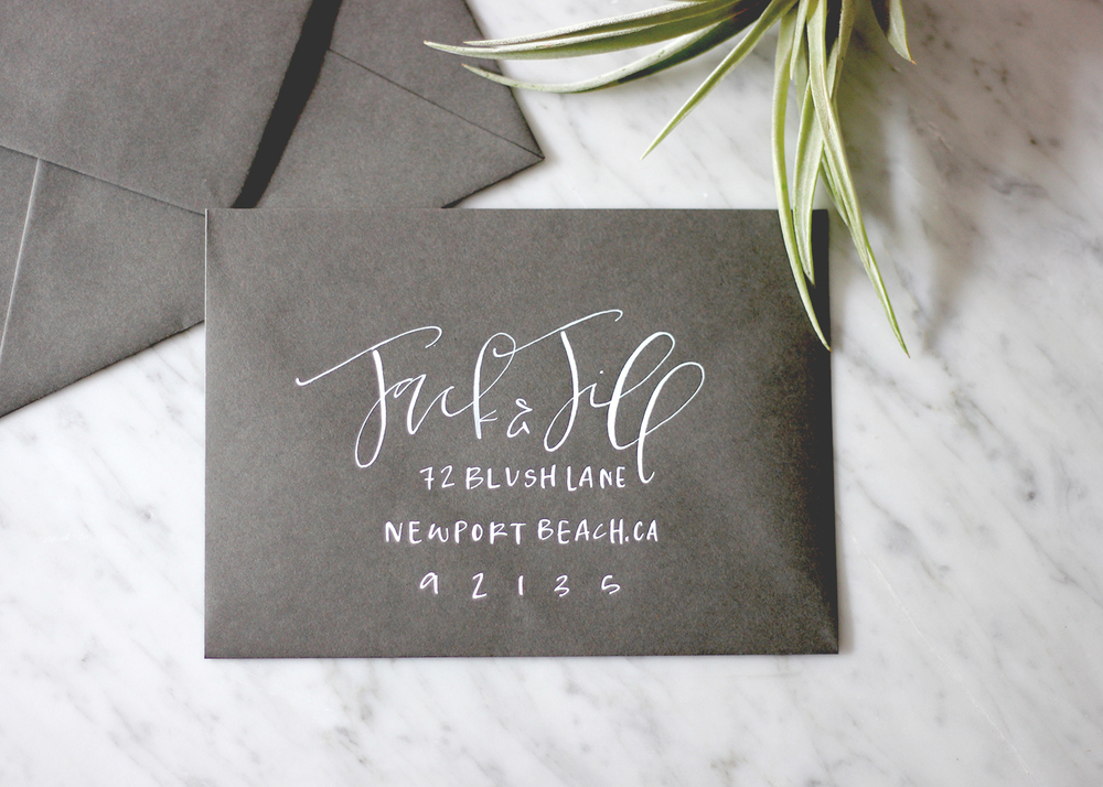 White Calligraphy On Slate Envelopes | A Fabulous Fete